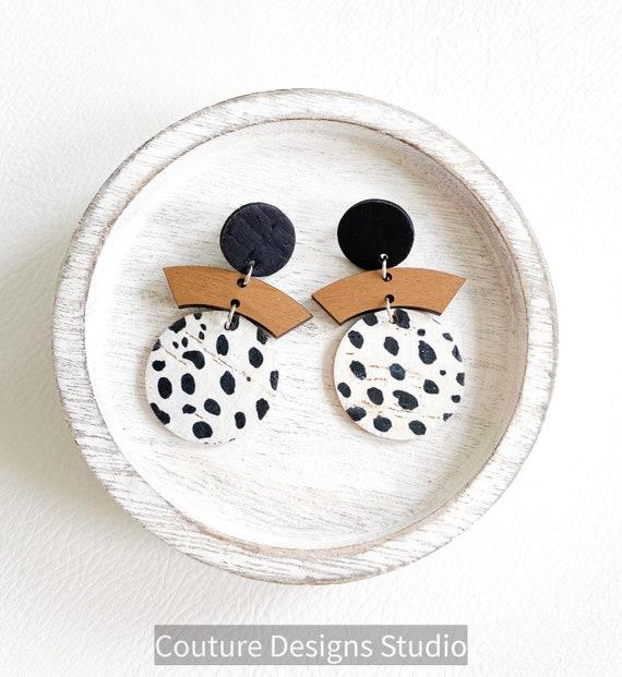 Spotted Circle Earrings, Cork and Wood Earrings, Black and White Dalmatian Leather Earrings, Boho Earrings, Geometric Earrings