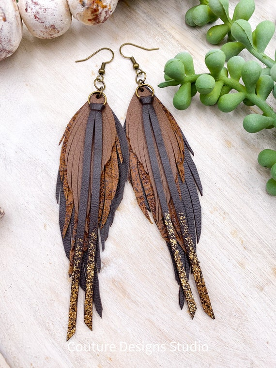 Boho Feather Leather Earrings - Narrow Feather Earrings, Sparkly Earrings, Leather Fringe Earrings, Gold Glitter Leather Earrings