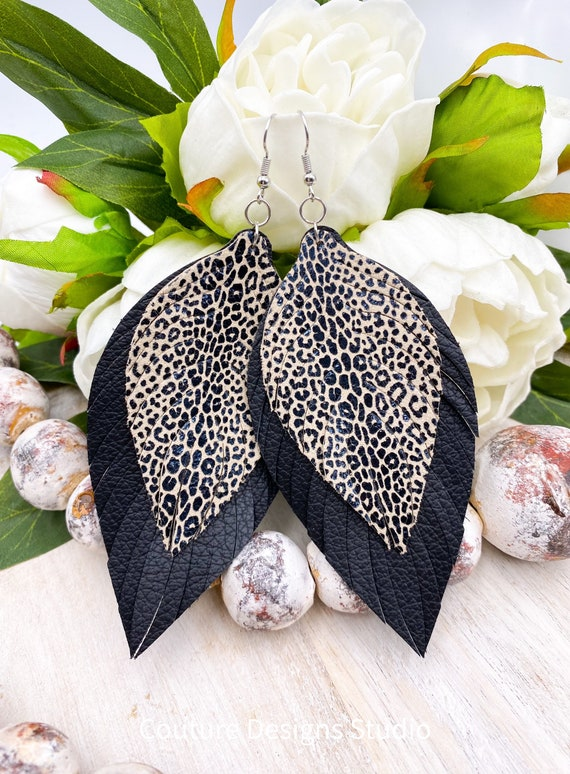 Leopard Leather Feather Earrings - Black & Tan Leather Feather Earrings, Leather Fringe Earrings, Boho Leather Earrings, 4.5 Inches