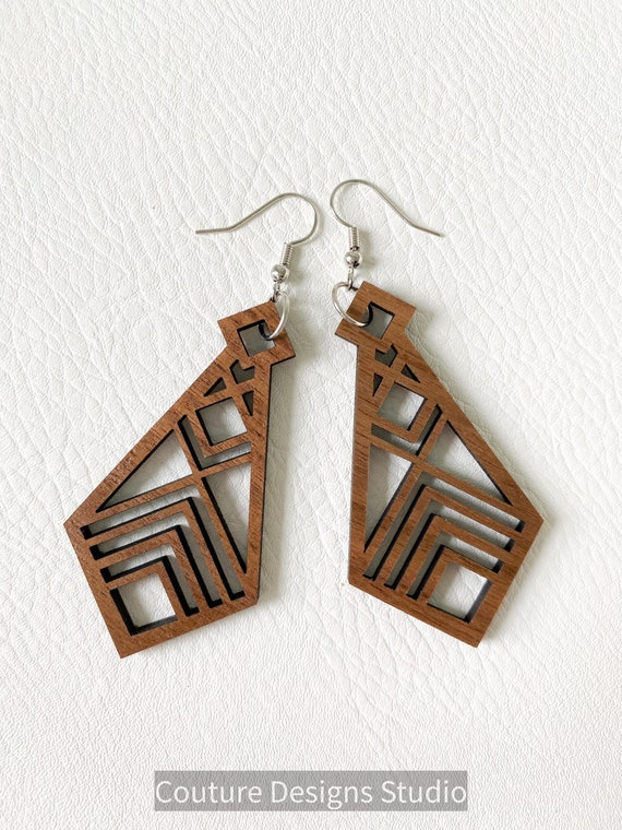 Laser Cut Wood Earrings - Wood Earrings, Wooden Earrings, Walnut Wood Earrings, Boho Wood Earrings, Boho Earrings, Geometric Wood Earrings