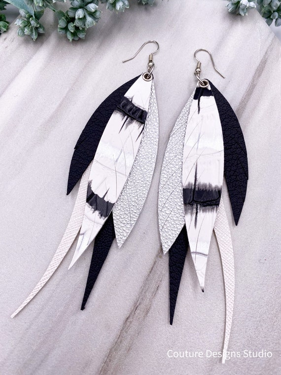 Black Faux Leather Feather Earrings - Faux Leather, Leather Feather, Leather Fringe, Boho Feather Earrings, Black and White