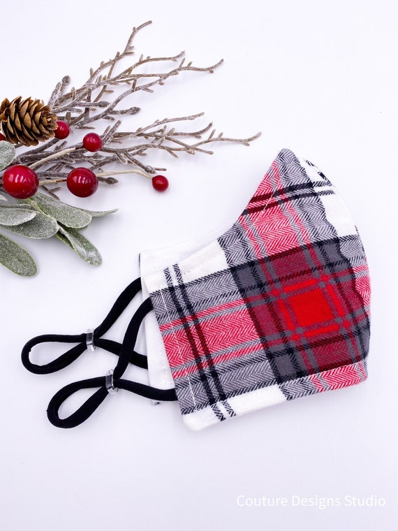 Plaid Face Mask - 2 Layer Mask, Ladies Mask, Woman's, Adult, Red and Black Plaid, Winter Fabric Mask, Tartan Face Mask