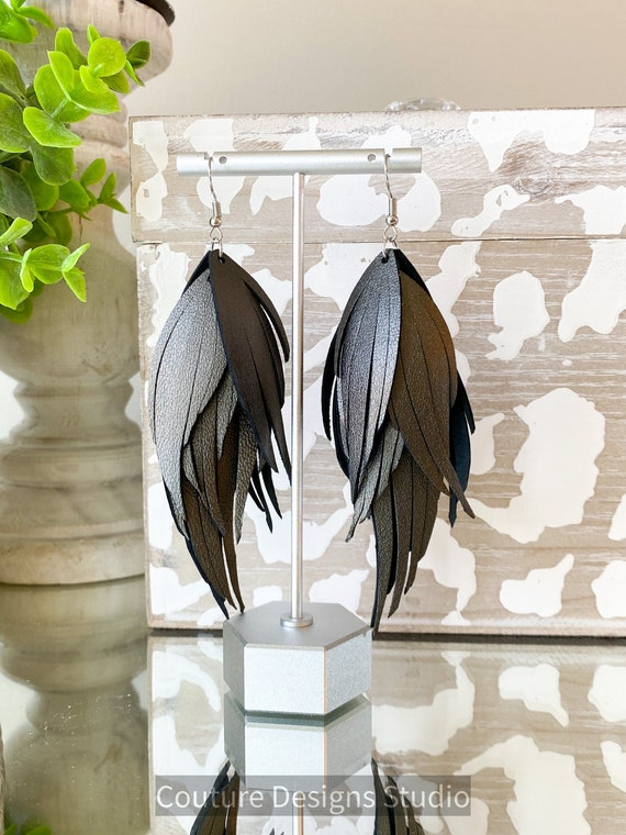 Gunmetal Leather Feather Earrings, Fringed Leather Feather Earrings, Charcoal Metallic Leather Earrings, Boho Earrings, Leather Feathers
