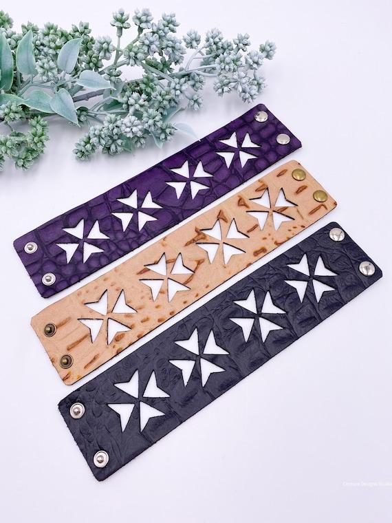 Genuine  Leather Cuff Bracelet - Embossed Leather Cuff, Croc Leather Bracelet, Alligator Leather Cuff Bracelet, Leather Bracelet
