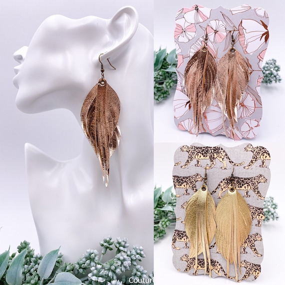 Metallic Leather Fringe & Feather Earrings, Genuine Leather, Gold, Rose Gold, Feathers, Fringe, Tassel