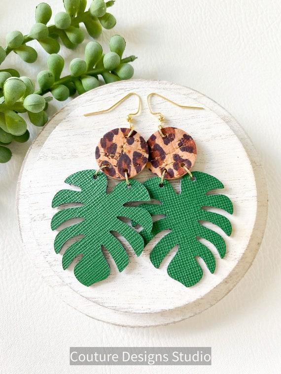 Monstera Leaf Earrings, Tropical Leaf Earrings, Banana Leaf Earrings, Modern Leather Earrings, Summer Earrings