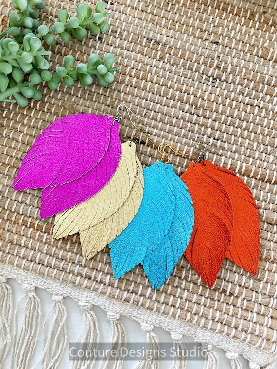 Large Leather Feather Earrings - Metallic Leather Feather Earrings - Gold Feather Leather Earrings - Turquoise Leather Feather Earrings