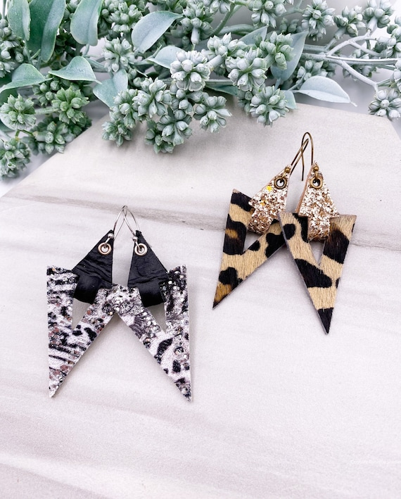 Triangle Leather Earrings - Genuine Leather Triangle Earrings, Cheetah Cowhide Leather Earrings, Glitter Leather Earrings, Unique Earrings