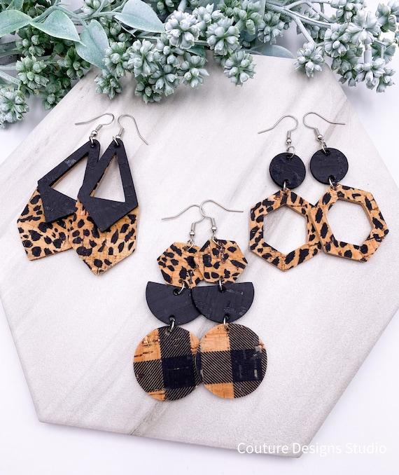 Geometric Leopard Cork Earrings - Cork on Leather, Cheetah, Hexagon, Genuine Leather, Boho Leather, Circle Drop, Semicircle, Semi-Circle