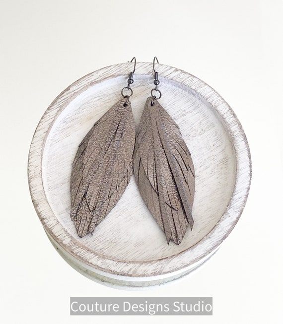 Metallic Leather Feather Earrings, Leather Feather Earrings, Leather Fringe Earrings, Boho Leather Earrings, Gunmetal Leather Earrings