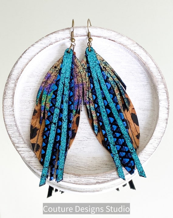 Peacock Cheetah Leather Feather Earrings, Leather Fringe Earrings, Feather Earrings, Boho Earrings, Statement Leather Earrings