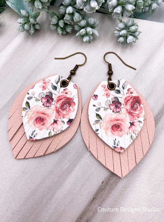 Pale Pink Fringe Earrings, Floral Leather Fringe, Leather Feather, Layered Leather, Nude Leather, Pretty Leather Earrings