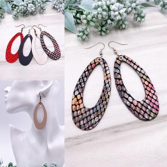 Oval Leather Earrings - Leather Hoop Earrings, Long Leather Earrings, Nude Leather Earrings, Statement Earrings