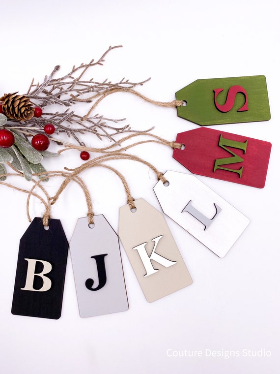 Christmas Stocking Name Tag, Wooden Name Tags, Personalized Gift Tag, Stocking Tag, Gift Tags, Wood Gift Tags, Customized Wood Tags, Letter