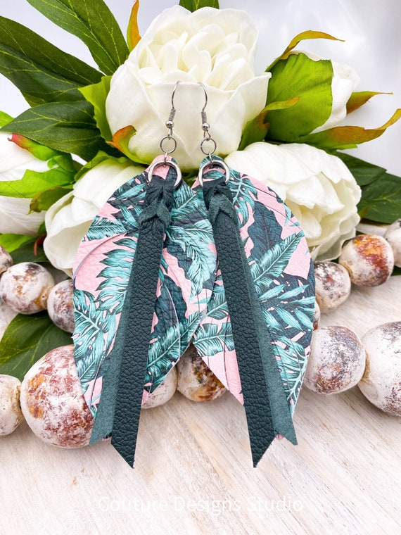 """Pink Leather Feather Earrings - Leather Feather Earrings, Leather Fringe Earrings, Tropical Leather Earrings, Boho Leather Earrings, 4.5"""""""