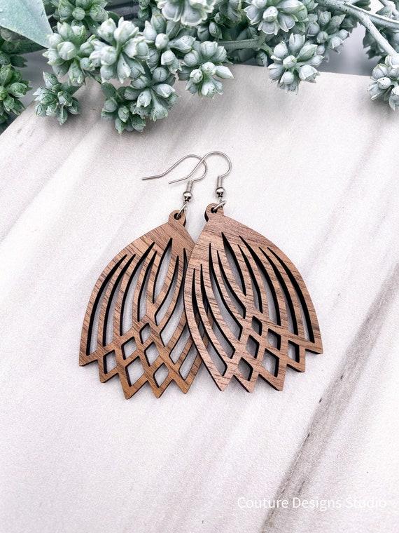 Walnut Wood Tulip Earrings - Laser Cut Earrings, Wood Earrings, Unique Earrings, Boho Earrings, Wooden Earrings