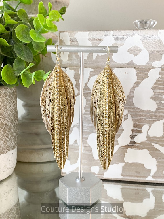 Gold Leather Feather Earrings, Gold Fringe Earrings, Rhinestone Gold Leather Earrings, Boho Earrings, Gold Snakeskin Feathers Earrings