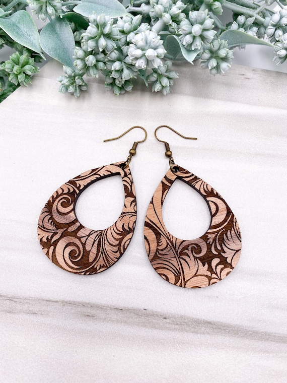 Tropical Engraved Wood Earrings - Walnut Wood Earrings, Wood Earrings, Tribal Engraved Earrings, Teardrop Earrings