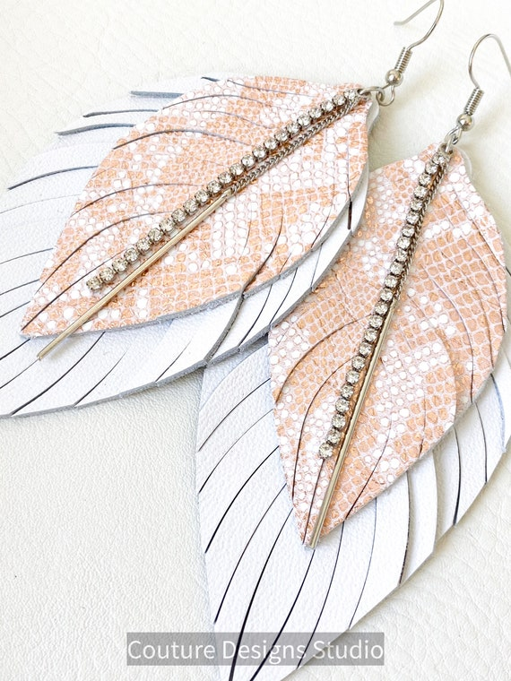 Pink and White Leather Feather Earrings - Boho Earrings, White Feather Earrings, Fringe Feather Earrings, Sparkly Leather Feather Earrings