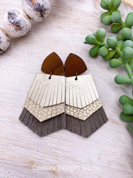Wood Fringed Leather Earrings - Leather Fringe Earrings, Wood & Leather Stud Earrings, Boho Leather Earrings, Western Earrings