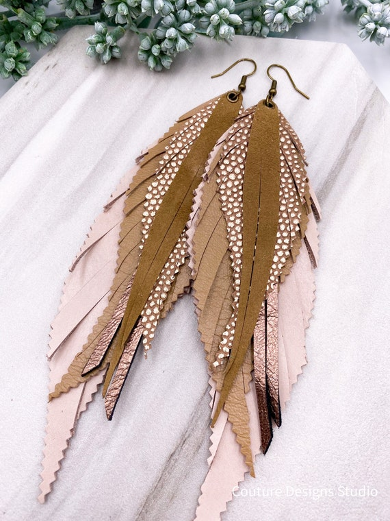 Dusty Rose Leather Feather Earrings, Genuine Leather, Layered Feathers, Rose Pink, Taupe, Beige, Boho Leather, Leather Fringe