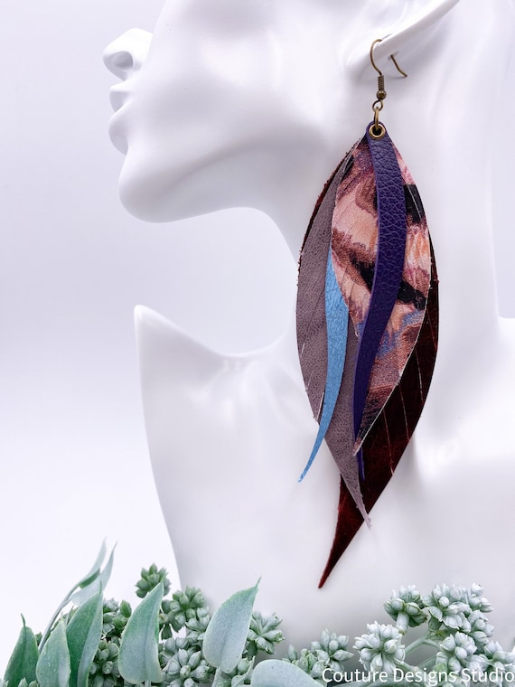 Plum & Brown Leather Feather Earrings, Genuine Leather, Red Metallic Leather, Feather and Fringe Earrings, Snakeskin Leather Feathers