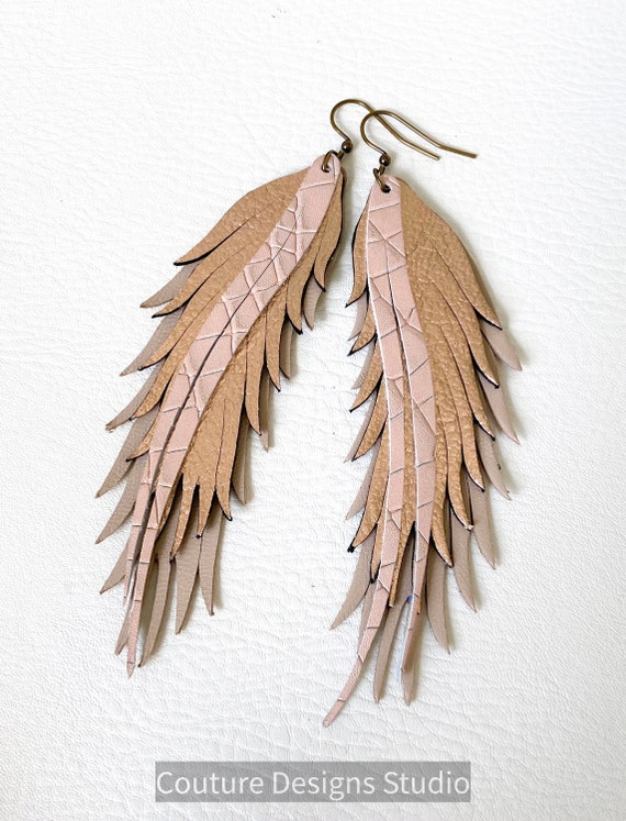 Nude Leather Feather Earrings, Rose Gold Feather Earrings, Nude Feather Earrings, Boho Earrings, Long Leather Feather Earrings