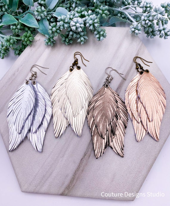 Metallic Leather Feather Earrings - Leather Feather Earrings, Pale Gold Feather Earrings, Rose Gold Genuine Leather Earrings