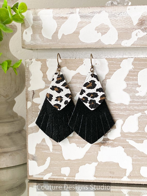 Cheetah Fringe Leather Earrings, Leather Fringe Earrings, Boho Earrings, Black and White Leather Earrings, Boho Earrings