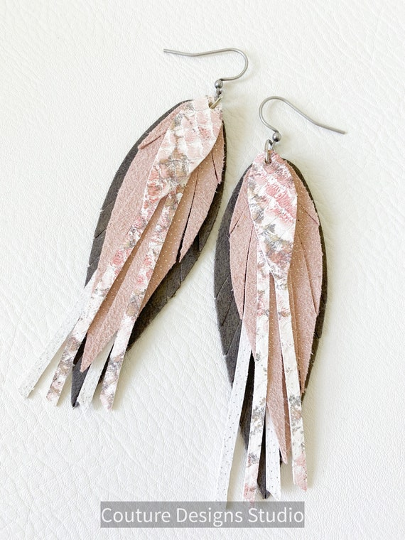 Boho Blush Feather Leather Earrings - Leather Feather Earrings - Taupe and Pink Feather Earrings - Unique Feather Earrings, 4 Inches