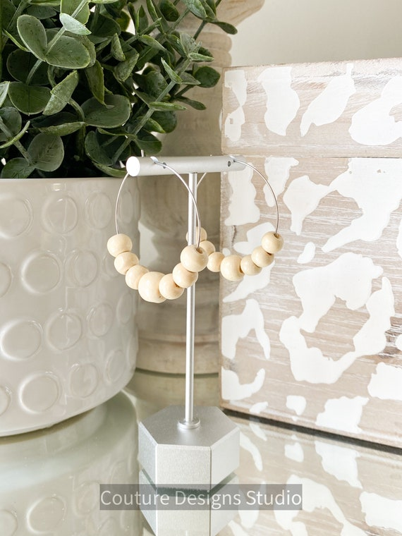 Wood Bead Earrings, Beaded Hoop Earrings, Hoop Earrings, Beaded Hoop Earrings, Natural Bead Wood Earrings, Ivory or Honey Wood Bead Earrings