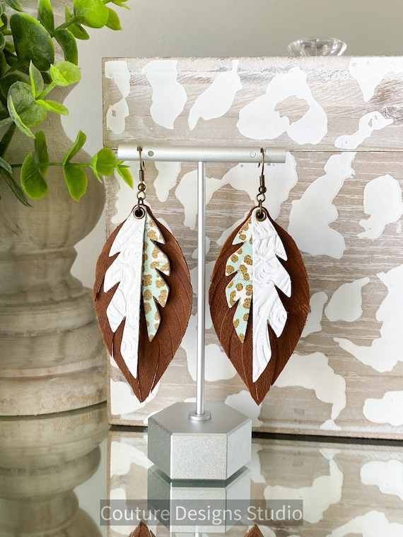 Brown Leopard Leather Feather Earrings - Boho Leather Earrings, Leather Feather Earrings, Leather Fringe Earrings, 3.5 Inches Long