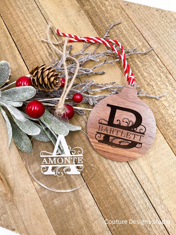 Personalized Monogram Ornament, Family Name, Split Letter, First Name, Laser Engraved, Holiday Ornament , Walnut Hardwood, Engraved Acrylic