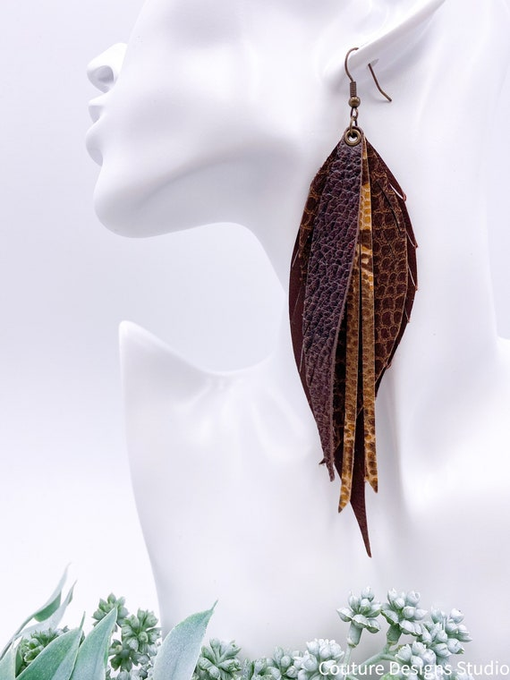 Brown Leather Feather Earrings, Leather Feather, Light Brown, Crocodile, Snakeskin, Boho Leather, Leather Fringe, Camel Fringe