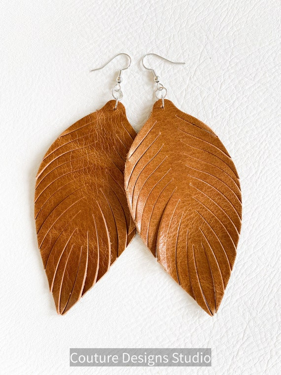 Boho Leather Feather Earrings - Large Leather Feather Earrings, Leather Fringe Earrings, Tassel Earrings, Long Leather Feather Earrings