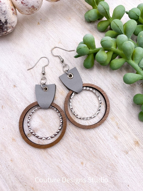 Leather & Wood Earrings - Hoop Earrings, Earrings, Boho Wood Earrings, Gray Leather Earrings, Boho Leather Earrings