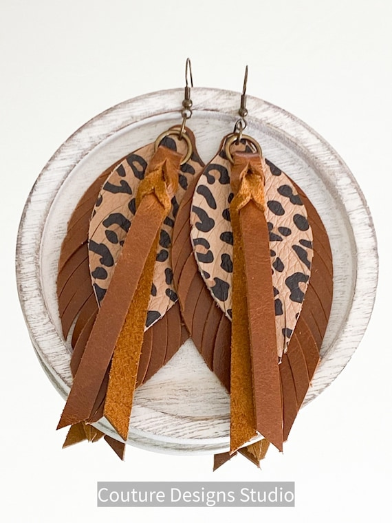 Cheetah Leather Feather Earrings - Boho Leather Earrings, Leather Fringe Earrings, Brown Leather Feather Earrings, 4.5 Inches