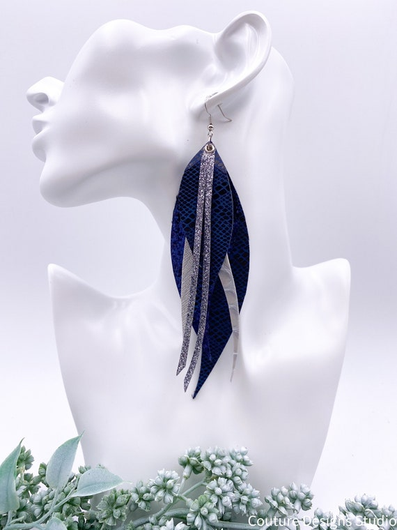 Navy Layered Leather Earrings - Navy Blue Feather Earrings, 6 Inch Feather, Large Sparkly Earrings, Feather Earrings, Glitter Earrings