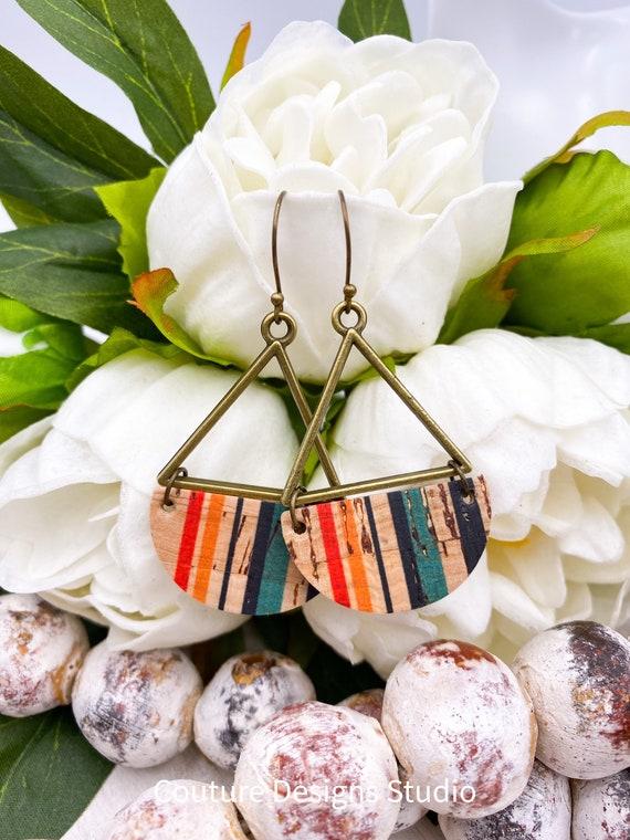Boho Stripes Cork Earrings - Triangular Earrings, Boho Earrings, Semi-Circle Earrings, Cork Leather Earrings, Genuine Leather Earrings