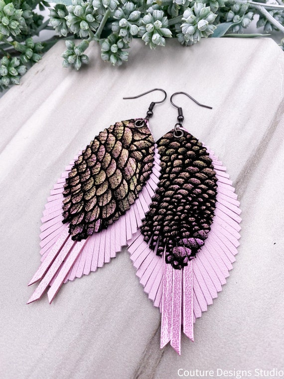 Pink & Black Leather Feather Earrings, Genuine Leather, Pink Metallic Leather, Blush Feather Earrings, Iridescent Leather Feathers