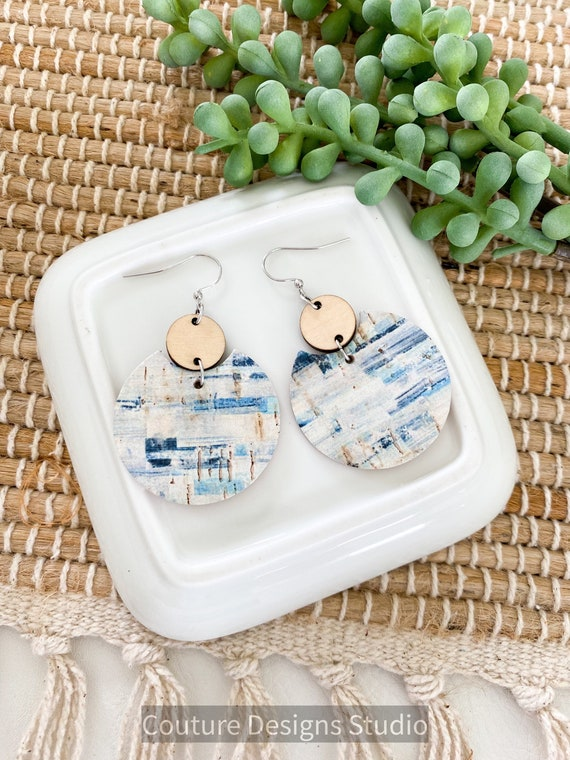 Circle Wood and Cork Earrings, Blue and White Brushstroke Cork Earrings, Boho Cork Earrings, Round Cork Earrings