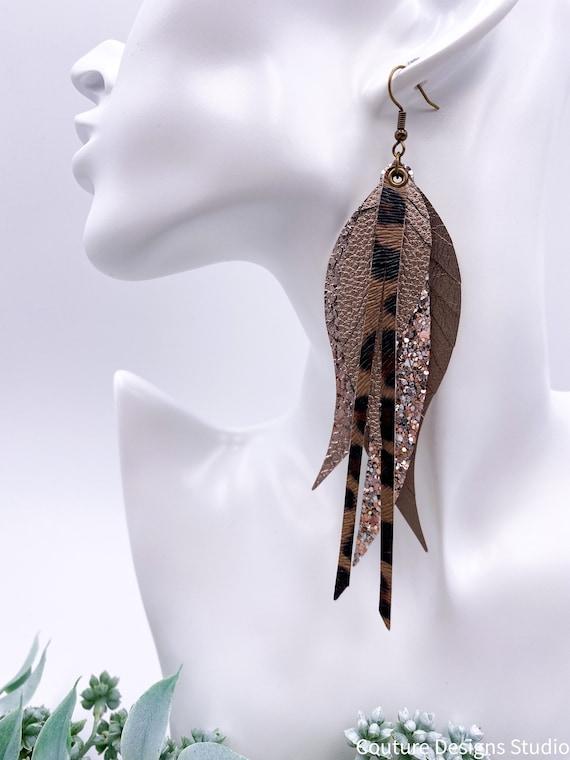 Mocha Glitter Faux Leather Feather Earrings, Layered Feather, Long Leather Earrings, Mocha, Taupe, Metallic, Coffee