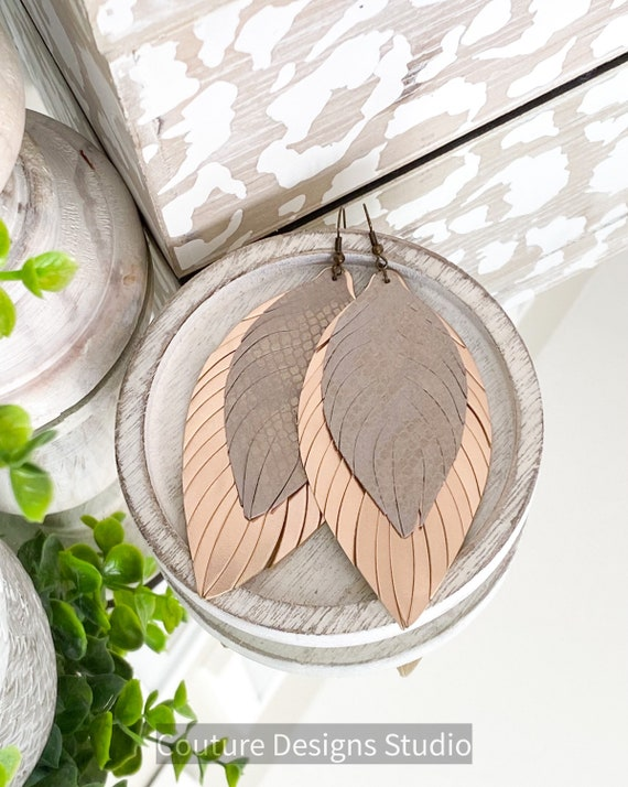 Rose Gold Leather Feather Earrings - Leather Feather Earrings, Leather Fringe Earrings, Leather Feather Earrings, 4.5 Inches