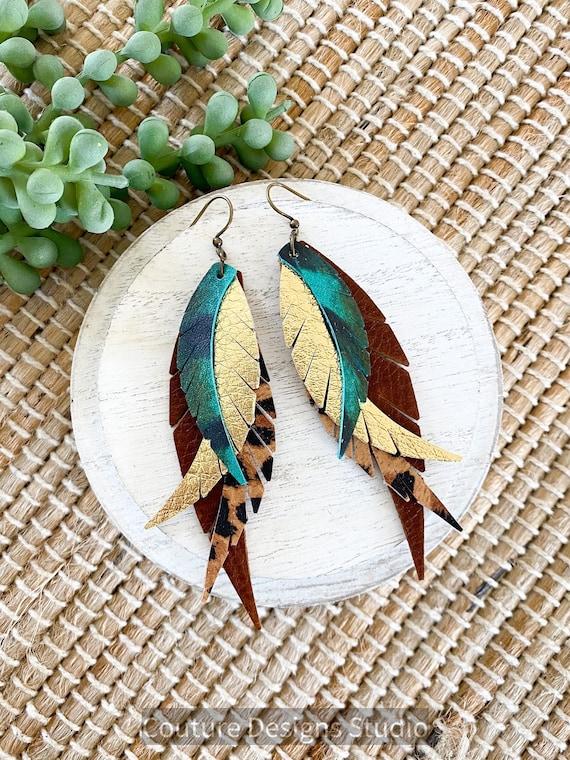 Boho Leather Feather Earrings - Fringed Leather Feather Earrings - Pheasant Leather Earrings - Turquoise Pheasant Feather Earrings