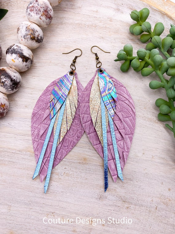 Oil Spill Leather Feather Earrings - Leather Fringe Earrings, Lilac Leather Feather Earrings, 4.5 Inches