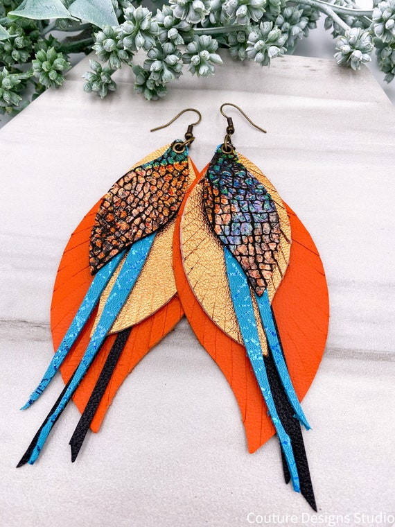 Leopard Leather Feather Earrings - Snakeskin Leather Earrings, Orange and Turquoise Leather Earrings, Genuine Leather Feather Earrings