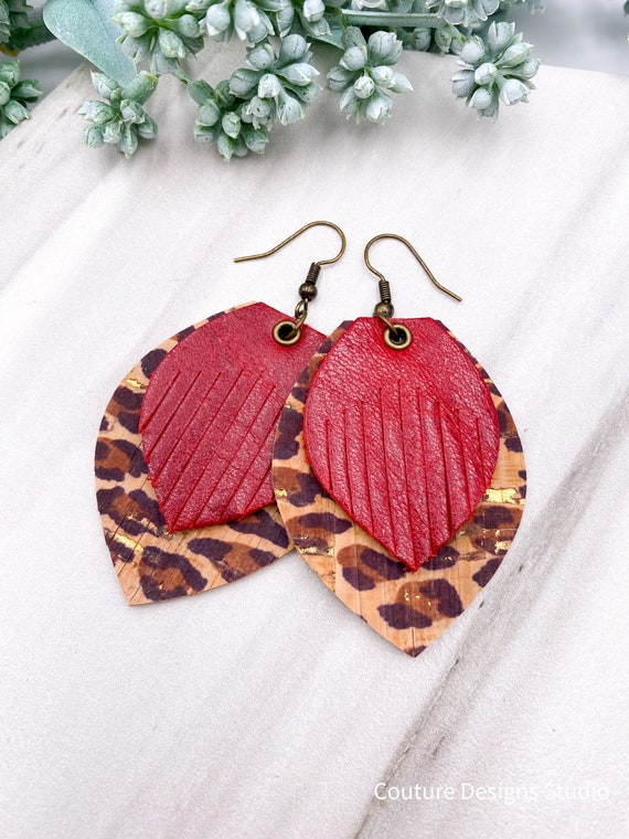 Cheetah Leather Fringe Earrings, Red Leather Fringe, Leather Feather, Layered Leather, Red Leather, Cheetah Gold Cork on Leather