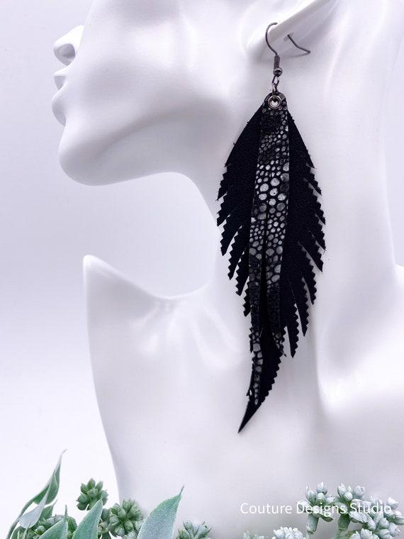 Black Leather Feather Earrings - 5.5 Inch Black Leather Feather Earrings, Long Leather Earrings, Black Stingray Leather Earrings