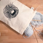 Knit - cotton screen printed pouch bag