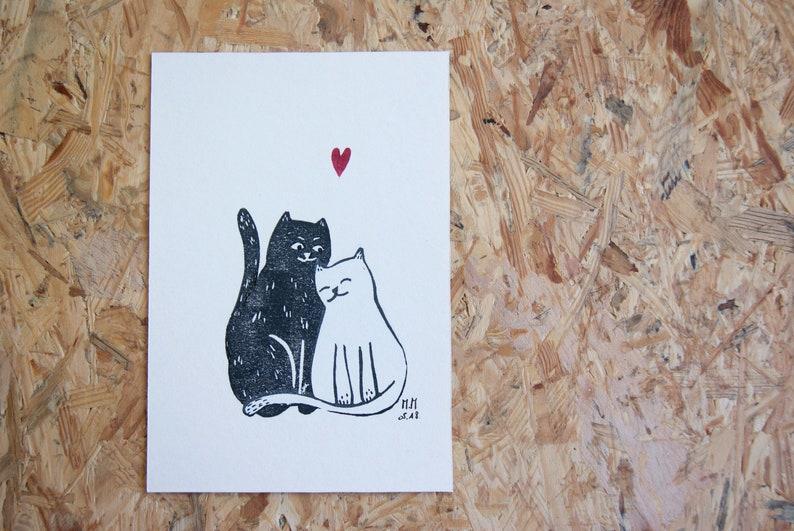 Black Cat white cat  linocut image 0